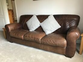 1 x 3 Seater Leather Settee and 1 x 2 Seater Leather Settee with footstool - Good Condition