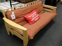 Sofa bed upholstered in orange fabric - British Heart Foundation sco39426
