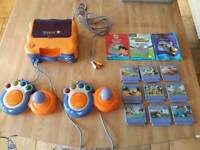 Kids vtech tv learning system and 9 games