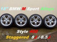 "18"" BMW M Sport staggered Style 400 Alloys Wheels F30 E90 E46"
