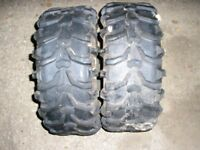 Pair front quad bike tyres. 22x 8-11