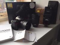 Nikon d7000 + 2lenses + flash gun (sb900) + memory card