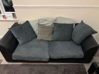 2 x Two seater sofa's + foot rest and cushions