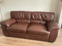 Brown leather couch and brown leather chair x2