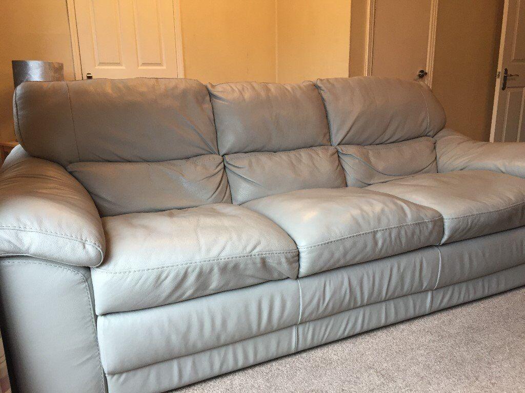 Bellini Light Grey Leather 3 Piece Suite 3 Seater Sofa