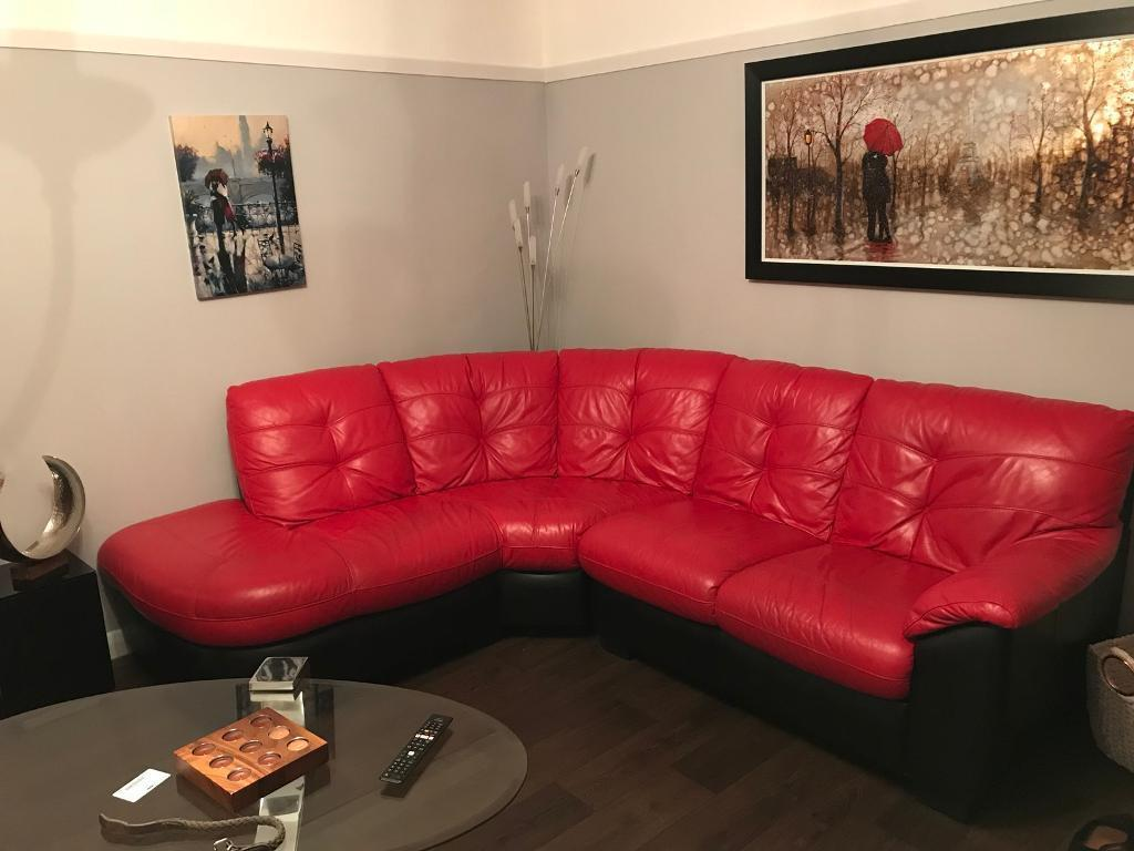 5 seater DFS red sofa