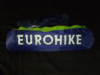 EUROHIKE 220 2 MAN TENT IN PURPLE & GREEN. EXECELLENT CONDITION HARDLY USED.