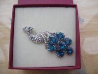 Ladies new And Boxed Broach (made by past times) Shape of a Peacock