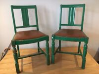 Pair of Shabby-chic Vintage 1920's Dining Room Chairs