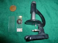 Vintage Small Scientific Microscope with two Slides - Made by Octopus