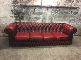 Vintage Chesterfield Four Seater Oxblood Sofa