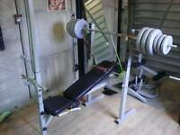 York bench with attachments and weights