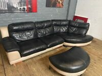 Curve Corner sofa with matching footstool real leather used sofa can deliver local