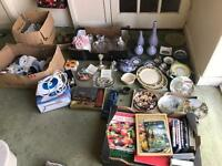 Huge lot of antiques, collectibles, toys, iron, MiniBrix, DVD, books, plates, dinner sets, etc