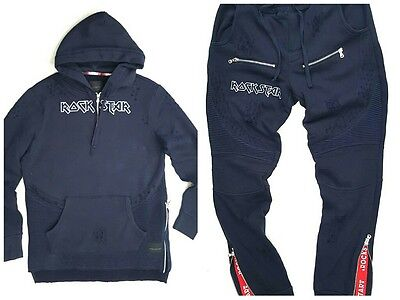 - ROCKSTAR SUSHI BIKER SWEAT SUIT SET TOP & BOTTOM NAVY BLUE