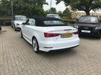 Audi A3 Cabriolet 2.0 TDI S Line (150PS)S TRONIC Glacier White, Metallic.