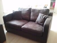 Chocolate brown 2-seater sofa bed