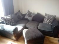 custom made corner sofa with foot stand