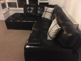 Black real leather Right handed L shaped sofa