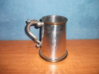 VINTAGE SHEFFIELD PEWTER AND BRASS TANKARD