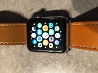 Apple Watch Series 1 - 42mm classic black leather buckle with 2 extra Straps