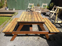 Wood Picnic Table Garden