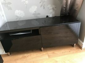 Ikea black gloss unit TV unit & cupboard
