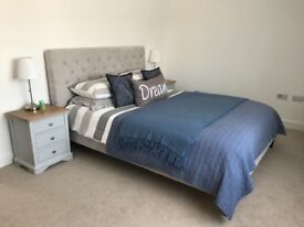 Light grey with oak top bedside table. Perfect condition