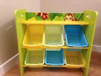 Jungle theme book shelf and toy storage