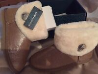 Emu metallic slipper boots with sheepskin cuff, sand in colour, size 4, brand new