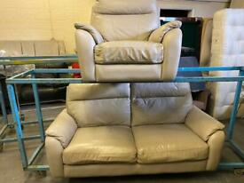HARVEYS GREY LEATHER SOFA SET IN NICE CONDITION 2+1 seater