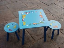 Childs Table with Two Stools - Excellent Condition - Only used a couple of times