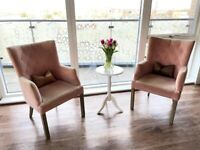 Pair Of Pink Velvet Armchairs - With Decorative Pillows