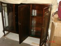 Antique Mahogany China Cabinet with lockable doors and glass shelves