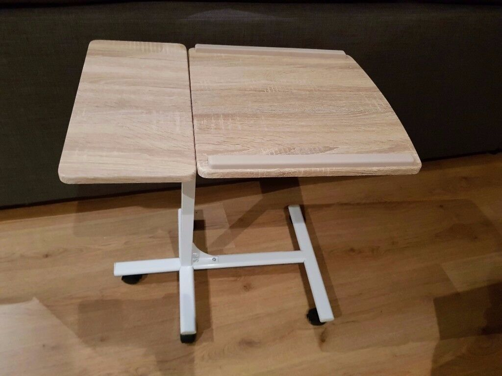 Wood & white laptop stand / table - adjustable, on wheels, mega convenient