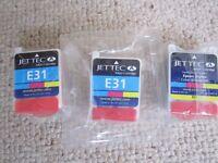 Set of three new Epson colour printer cartridges