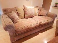 John Lewis Velvet/Chenille Material Sofa 3 seater x 1 (Duresta style) Excellent