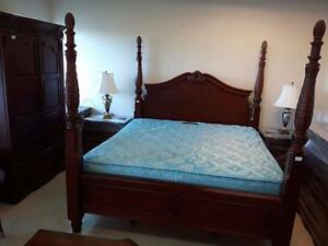 3. King-Size Four-Poster Bedroom Set in Mahogany Finish for $2499.99