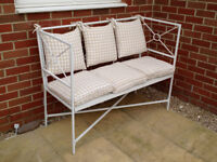 SOLD - White Painted Metal Garden/Conservatory Seat