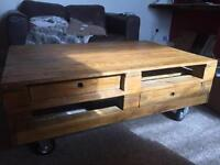 Rustic style pallet coffee table, large