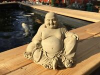 Garden Stone Concrete Cast Laughing Buddha Ornament Koi Pond