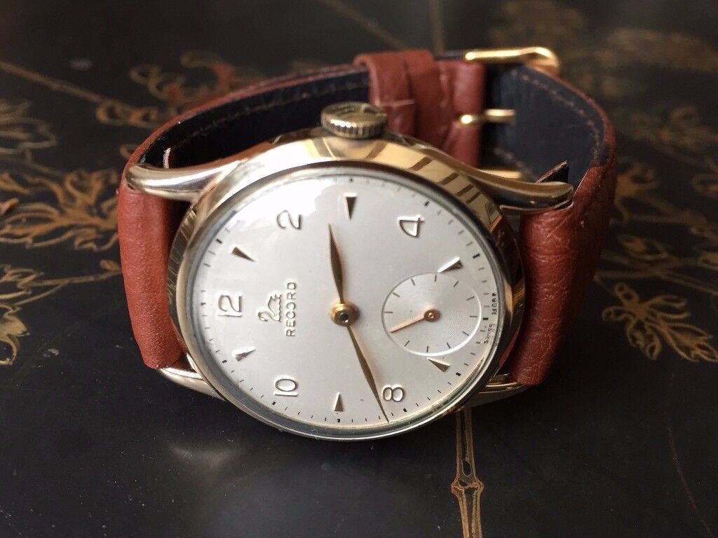 Vintage 9k 9ct solid 375 gold Record mens watch (Longines)
