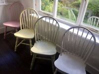 4 Shabby Chic / Rustic Painted Dining Chairs