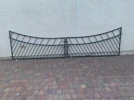 Galvanised steel gates, overall length 4.2m