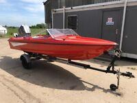 Fletcher Arrowflyte 14ft speed boat +75hp 2 stroke Mariner outboard (electric trim/tilt) Immaculate