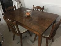 Solid wood country style dining table & 4 chairs