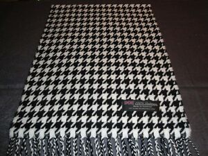 100-Cashmere-Scarf-Soft-72X12-White-Black-HoundsTooth-Scotland-Wool-Men-Wrap