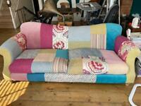 Patchwork sofa, matching armchair & pouffe from DFS