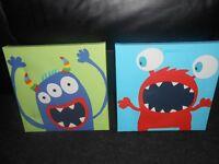 2 childrens monster canvas, 45x45cm