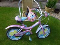 GIRLS BIKE//HELMET & STABILIZERS UP TO AGE 8YRS - V.GOOD COND